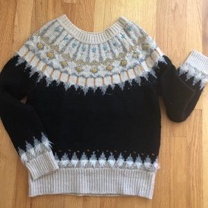 Anthropologie Beaded Fair Isle Sweater